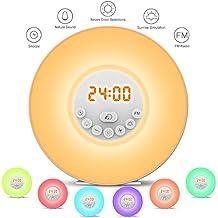 StillCool Lampe de Réveil Tactile avec Fonction Radio FM, Simulation d'Aube et de Crépuscule, Délai de Sonnerie, 7 Couleurs Lumière LED, 6 Sons Naturels (Round)