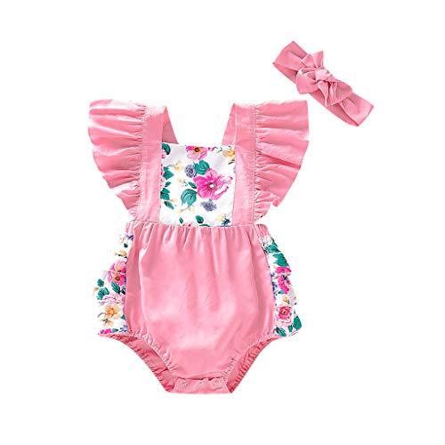 Livoral Baby Born Säuglingsbaby-Fliegen-Hülsen-Blumenrüschen-rückenfreier Spielanzug-Bodysuit + Stirnband(Rosa,70) -