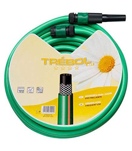 """SATURNIA 8070667 Manguera Verde Trebol Trenzado 15 mm. - 5/8\"""" Rollo 15 metros Con Accesorios"""