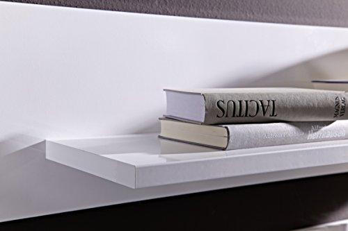 Peter MNWW511082 TV-/Wohnlösung glänzend Nachbildung, Hochganz MDF, inclusive LED-Beleuchtung, circa 296 x 196 x 50 cm, weiß - 3