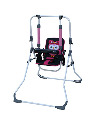 Clamaro 2 in 1 Babyschaukel \'SWING\' Indoor Baby Schaukel und Hochstuhl in einem, Sicherheitsgurt mit Bügel, gepolsterter Sitz, kompakt zusammenklappbar - Motiv: Eule