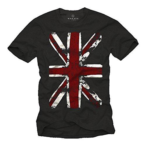 Vintage England T-Shirt UNION JACK Flagge schwarz Männer M (Shirt Herren Disco Vintage)