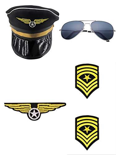thematys Piloten-Set 4-teilig - Mütze, Brille, Schulterklappen & Abzeichen - Accessoires für Erwachsene perfekt für Fasching, Karneval & Cosplay