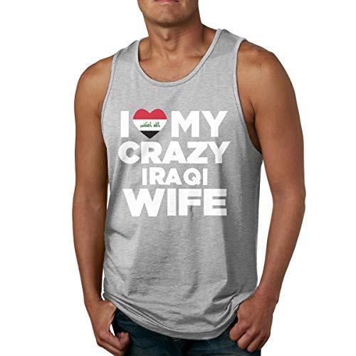 Abigails Home Ich Liebe Meine verrückte irakische Frau Mens Tank Top ärmellose Shirts Tee Basketball Sport T Shirt Tees Outdoor Fitness(3XL,grau) -