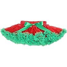 Happy Cherry Niña Falda de Cintura Elástica Tutú Corta tul Fiesta Boda Cumpleaños - Rosa 1-5 rosado gris azul violeta caqui púrpura rojo verde /rojo negro/azul1-0-10años