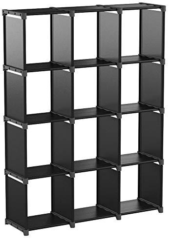SONGMICS Cube de Rangement, Bibliothèque à 12 Casiers, Placard modulable, Étagère de Rangement au Salon, dans la Chambre, Salle de Bain, 105 x 30 x 140 cm, Maillet en Caoutchouc fourni, Noir LSN12BK