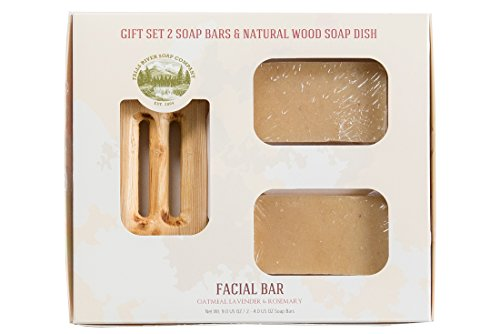 Facial Bar - Oatmeal, Lavender & Rosemary - Handmade Organic Bar for Sensitive Skin. Moisturizing Body Soap for Skin and Face. With Shea Butter, Coconut Oil, Glycerin