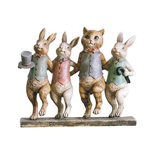 Chat et lapin quatre danse style américain salon décorations pour la maison ornements rétro résine artisanat forme vive, Broadway américain est à la fois visuel