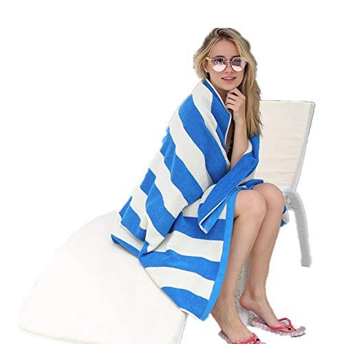GSJJ Weich Badetuch Strandtücher groß klassisch, Streifen Design, Saugfähig Baumwolle, Decke Matte Schal zum Reise Erwachsene Kinder Sport im Freien Schwimmen Yoga Fitnessstudio,Blue