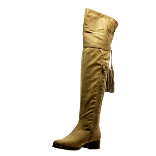 Angkorly - Scarpe Moda Stivali Alti Stivali - Scarponi cavalier flessibile donna pon pon frange Tacco a blocco 3.5 CM Khaki