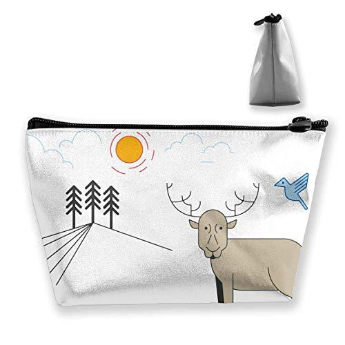 Cartoon Deer Women Cosmetic Bags Multifunktions-Kulturbeutel Organizer Travel Wash Lagerung (Trapez) -