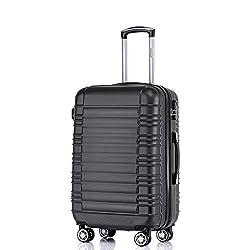 BEIBYE Zwillingsrollen Reisekoffer Koffer Trolleys Hartschale in XL-L-M in 14 Farben (Schwarz, L)