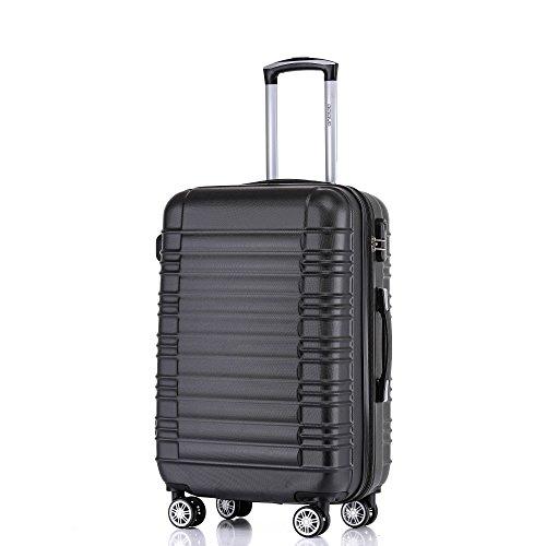 BEIBYE Zwillingsrollen Reisekoffer Koffer Handgepäck Trolleys Hartschale 2088 (Schwarz, XL)