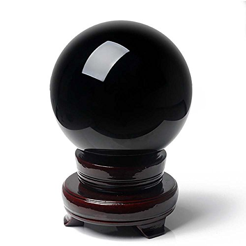 Geschnitzt Ball (mikini Heilung Reiki Energie natur geschnitzt rot Kristall Ball Kugel (80mm) Figur Statue mit Ständer aus Holz Black Obsidian)