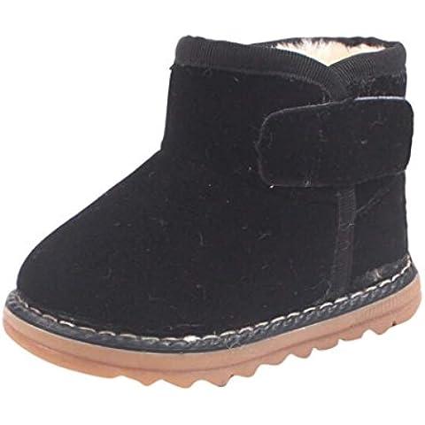 Zapatos de Niños Niños Niñas de piel, Koly botas invierno gruesa de nieve (23_cm, Black)