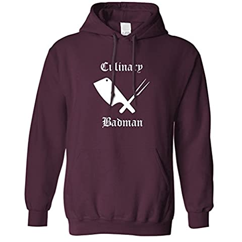 Culinary Badman Funny Bad Ass Gangster Cooking Master Chef Slogan Hoodie (Maroon)