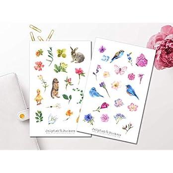 Frühling Sticker Set | Aufkleber Tiere | Journal Sticker | Sticker Blumen | Sticker Vögel