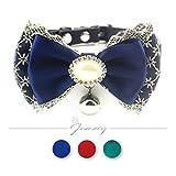 Jamory Hundehalsband Halsband Halskragen Hund Hochzeit Deko Geschenk mit Schleife Anhänger Prinzessin S M (M, Blau)