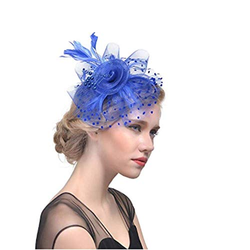 Machen Kostüm Senf - Yanchad Haarschmuck mit Schleier, Damen Haarreifen Fascinator Hut Netzschleier für Karneval Kostüm Hochzeit Party Halloween Navy blau