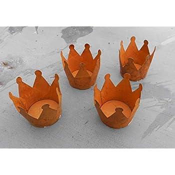 2er Set Teelichthalter Krone Metall Rost-Optik 9 cm Windlicht Kerzenständer NEU