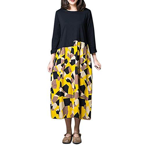 LILIGOD Damen Baumwolle und Leinen Kleid Langarm Langes Kleid Vintage Langärmeliges Kleid Beiläufiges Loses Party Kleid O-Ausschnitt Maxi-Kleid T-Shirt Kleid Farbkollisionsdruck -