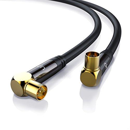 1,0m cable de antena HQ HDTV Premium | En ángulo 90° | factor de blindaje 135 dB | resistencia: 75 ohmios | cable coaxial HDTV / Full HD | clavija coaxial macho en acoplamiento coax | carcasa metálica / contactos dorados | negro