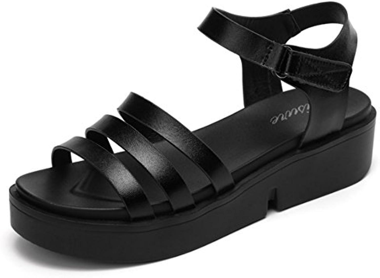 Cómodo Sandalias planas para estudiantes de velcro Verano femenino con sandalias gruesas salvajes La palabra con...