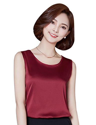 Enjoymore alizeal Damen Cami silk-feeling Charmeuse Weste Tops, Rot -
