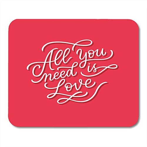 Mouse Pads Abstract Red All You Need is Love Song Lyrics Lettering for Valentines Day Quote for Ribbon Lovely Pink Mouse Pad for notebooks,Desktop Computers mats Office Supplies