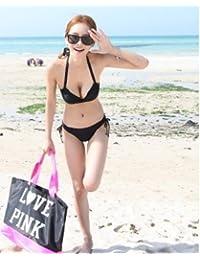 KLXEB Spa Bikini en deux pièces Maillot de bain Petite poitrine Réuni en acier support Taille haute Split Maillot de bain, XL, Noir