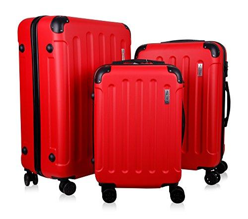 Koffer & Reisekoffer mit 4 Doppelrollen & Teleskopstange und TSA Schloß - Hartschalenkoffer (Red, Set)