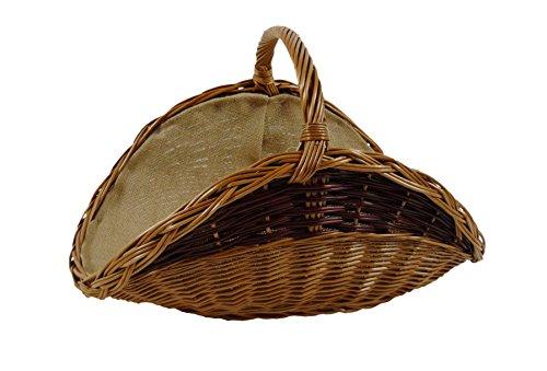 salkorb Kaminkorb Weidenkorb Holzkorb Holzliege aus gekochter Weide ausgestattet mit Jutefutter große Variante ()