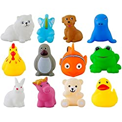Aarushi 12 pcs Early Educational Toys Gifts Rubber Baby Bath Toy Colorful