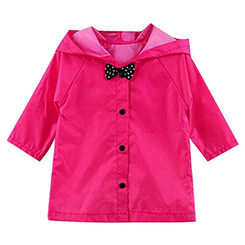 Highdas Prinzessin Bow Kinder Poncho Dickes Nylon Kinder Raincoat (Rose Red) 7-8Y