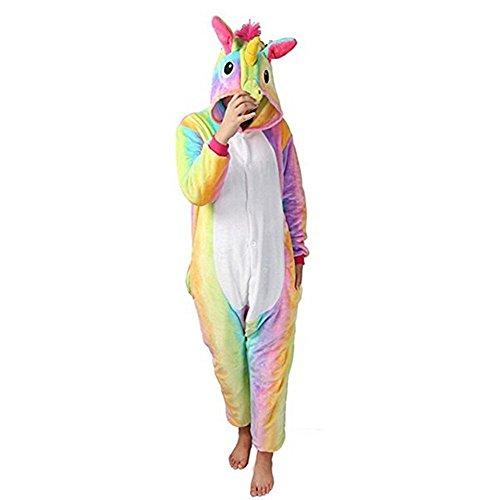GWELL Pyjama Einhorn Kostüm Winter Schlafanzug Tierkostüm Jumpsuit Overall Tieroutfit Unisex Erwachsene Cosplay bunt S