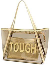 Zicac Candy Color Clear Large Tote Bag Letter Pattern Pvc Beach Shoulder Bag With Interior Zipper Pouch (Gold)