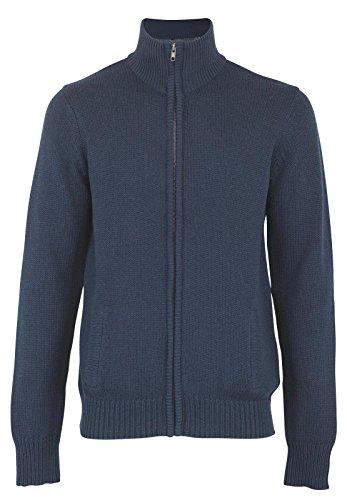 Da uomo invernale di lana misto alla moda Casual Cerniera Frontale collo alto maglia Cardigan Navy melange Medium