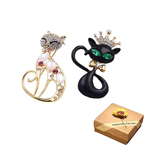 CAILI 2 Broche de Gatos, Broche Delicado Vintage de Dos Tonos, Broche de Dibujos Animados con Incrustaciones de Diamantes con Rociado de Aleación, Decoración Damas y Hombres (Oro + Negro