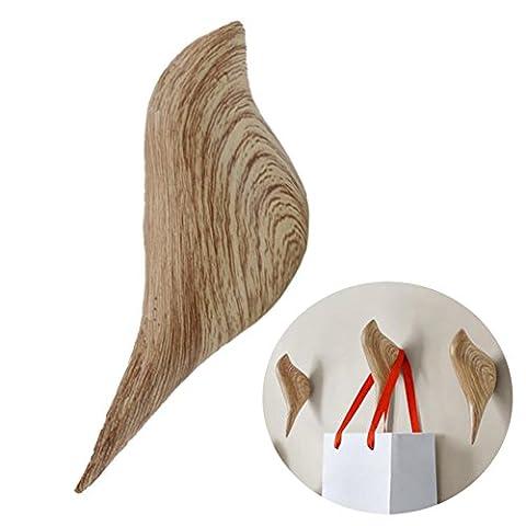 Da Jia Inc 3D stereoskopischen Tiere Wandhaken Harz Home Zubehör Küche Handtuch Mantel Robe Haken Vogel Wandhaken für Bad Schlafzimmer Wood Grain-Not Wooden Material