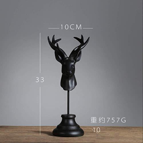 YUANYSBJ Statue Dekoration Nordischen Stil Harz Hirschkopf Schmuck Rack Tier Dekoration Wohnzimmer Tv-Schrank Weinschrank Hirsch WohnkulturHandwerk17010Bk - Tier Schmuck Schrank