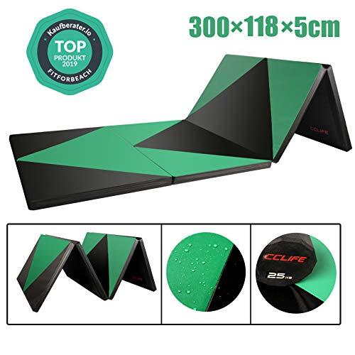 CCLIFE 300x118x5cm Schwarz&Grün Klappbare Weichbodenmatte Turnmatte für Zuhause Fitnessmatte Gymnastikmatte rutschfeste Sportmatte Spielmatte, Farbe:Schwarz&Grün