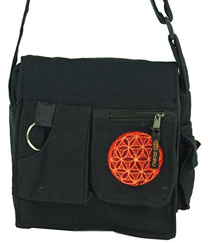 Alternative Stoff Schultertasche Umhängetasche Guru 25x25x7 Schwarz Herren Handtasche Tasche cm Damen Hippie Baumwolle Shop Schwarz aus v6x65qwpU