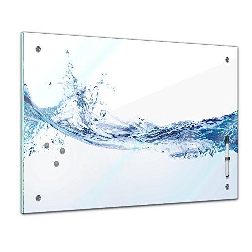 Memoboard 80 x 60 cm, Textur - Textur Wasser - Memotafel Pinnwand - Element - Holz - Wasser - Grafik - Motiv - Texturmotiv - blau - Küche - Esszimmer - Glasbild - Handmade - magnetisch - modern