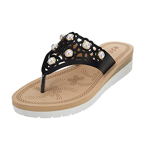 SHE.White Keilabsatz Hausschuhe Damen Dicker Boden Flip-Flop Toe Separator Atmungsaktiv Perlen Sandalen Sommerschuhe Flache Sandaletten -