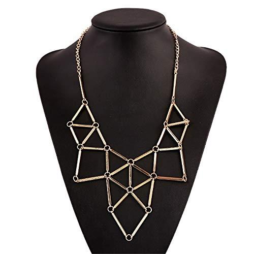 Trend Damen Halskette Statement-Kette, Einfache mode metall aushöhlen geometrische patchwork anhänger halskette bib choker kragen damen frauen schmuck geschenk Lätzchen Choker Halsband Valentinstag -