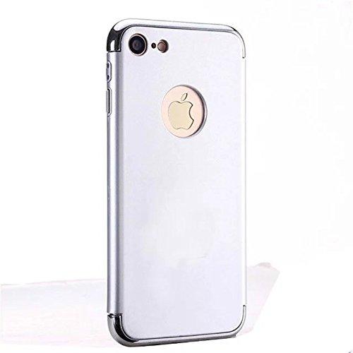 iPhone 7 Plus Coque,Lantier 3 en 1 ultra mince anti rayures anti empreintes digitales antichoc Electroplate Métal Retour Texture Combo Cover Case pour iPhone 7 Plus5,5 pouces Argent Silver