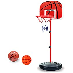 Pellor Ajustable Canasta Aro de Baloncesto Se puede Subir y Bajar para Niños