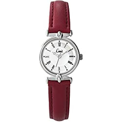Limit Classic White Dial Red Leather Strap Ladies Watch 6035
