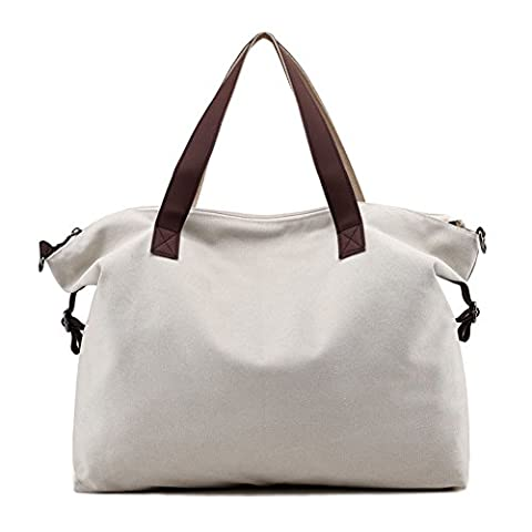 Large Weekend Handbag Women Hobos Shoulder Bag Shopper Canvas Tote Top Handle Bag (Beige)