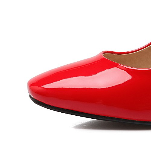 AgooLar Femme Pu Cuir à Talon Haut Carré Couleur Unie Tire Chaussures Légeres Rouge